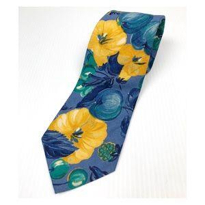 Vintage Banana Republic Floral blue yellow Tie
